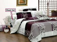 May Print 4pc cotton sheet set: 1 fitted sheet, 1 flat sheet & 2 pillowcases