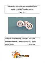 Leichtbau Kunststoff Kugellager 623 POM PA GLAS Plastic Bearing 3x10x4 mm