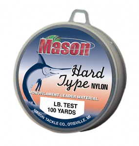 "Mason ""HARD TYPE NYLON"" Leader Material 100 Yard Spools 2.5 - 150 # Test Clear"