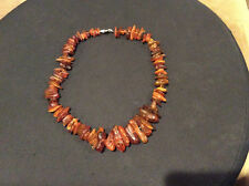 """Amber Necklace unpolished genuine Baltic amber Lithuania 1980's 16"""" long"""