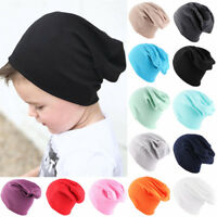 Ski Cotton Soft Solid Color Kids Slouchy Hat Baby Caps Winter Warm Beanies