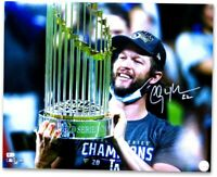 Clayton Kershaw Signed Autographed 16X20 Photo Dodgers World Series Trophy H MLB