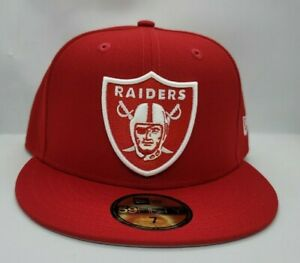 NEW ERA 59FIFTY FITTED HAT.  NFL.   RAIDERS.  RED.
