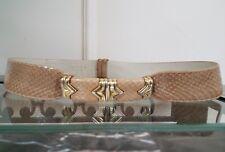 Vintage Judith Lieber Beige Colored Snakeskin Adjustable Belt w/Gold Belt Buckle
