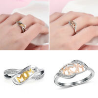 18k Rose Gold Heart-shaped MOM Character 925 Sterling Silver Love Mum Ring