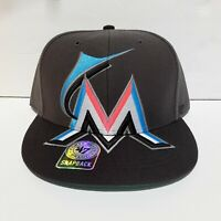 New MLB Miami Marlins Hat Snapback Mens Adjustable Baseball Cap Athletic Black