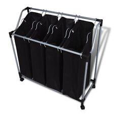 4 Fächern Wäschesortierer Wäschewagen Wäschesammler Wäschebox Wäschekorb
