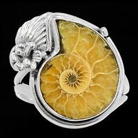 """Fossil"" Ammonite - Madagascar 925 Sterling Silver Ring s.8.5 BR21152 XGB"