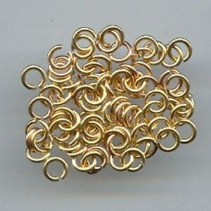 100 VINTAGE GOLD OPEN END ROUND 5mm. JUMP RINGS 2090