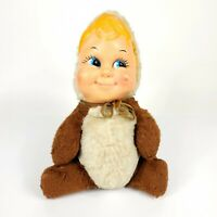 """Vintage Rubber Face Plush Baby Toddler 12"""" Stuffed Toy"""