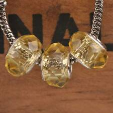 10pcs Citrine Faceted Lampwork Glass Murano Big Hole Beads Fit Charms Bracelets