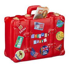 Spardose Urlaub, Sparschwein Urlaubskasse, Reisekasse Koffer, Sparbüchse rot