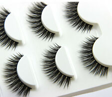 3 Pairs Natural Long 3D Eye Lashes Makeup Handmade Thick Fake Eyelash Extension