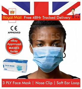 100 X Face Mask Fluid Resistant 3PLY Non Surgical Disposable RESPIRATOR MASKS UK