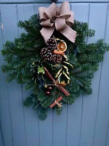 Christmas Holly Wreath Swag Natural Real Door Xmas Festive Decoration Fresh