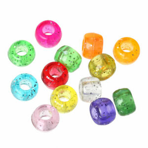 Mixed-Colour Glitter Acrylic Pony Beads Large Hole 9 x 6mm Pack Of 100+