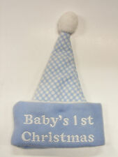 """BABY BLUE & WHITE """"BABY'S FIRST CHRISTMAS"""" CHILDREN'S HAT HOLIDAY ACCESSORY"""