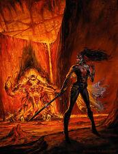 LA Banks Vampire Huntress Damali vs Demon OIL PAINTING plus sketch - BAXA mtg
