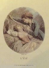 Ancienne impression affiche les saisons romantisme l'été LAVRINCE DEL. N°29
