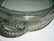 GORGEOUS HOLLYWOOD REGENCY OLD SILVER HOLDER W/OVAL PYREX SERVING DISH