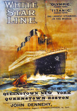 "Titanic and Olympic poster Reproduction  11.7"" x 16.5"""