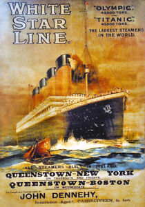 """Titanic and Olympic poster Reproduction  11.7"""" x 16.5"""""""