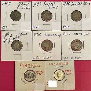 (8) US Silver Coins- Seated Liberty,Barber,Mercury Dimes -1857-1945