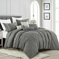 Luxury 7P Bedding Comforter Set Bed In A Bag Gray,King/Cal King Size,Lissie