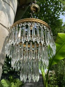 Vintage 3 Tier Crystal Glass Bag Chandelier Ceiling Lamp Shade Light Fitting I/2
