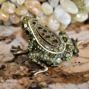 Two's Company Crystal Frog Trinket Jewelry Box