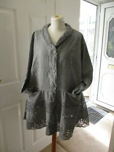 BNWT Kekoo Lagenlook Jacket with Lace Panel Shaped Hem Size 2 (Chest 50 inches)