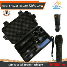 9PCS LED Camping Light Rechargeable Tactical Flashlight CREE LED Zoom Torch Set