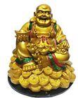 Feng Shui Decor Laughing Buddha Statue Resin Golden Carrying Money Bag Buddha