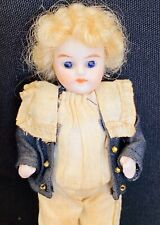 "Antique All Bisque Doll German 4"" Molded Boots Glass Eyes C1900"