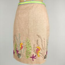 Etcetera Skirt 4 Beaded Embroidered Seahorse Ocean Stretch Cotton Khaki Pencil