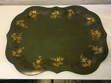 Vintage Large Tole Painted Tin Tray Green w/ Floral Decoration