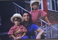 Vintage Photo Slide 1972 Dad Posed Sons Polka Dot Matching Shirts Hats