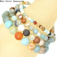 Natural 4mm 6mm 8mm 10mm Multi-Color Amazonite Gemstone Beads Stretch Bracelet