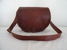 "13"" Real Brown Leather Padded DSLR Camera Bag Handbag Crossbody Bag Handmade"