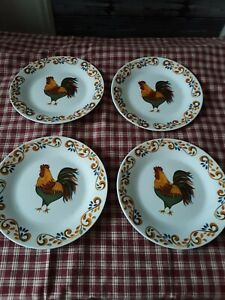 """Rustic Farmhouse Rooster Plates Set Of 4 7""""..Gibson"""