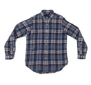Polo Ralph Lauren Linen Button Down Shirt Medium Long Sleeve Blue Red Plaid