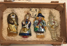 Polonaise Set of 4 Glass Christmas Ornaments in Orig Wood Box - Wizard of Oz