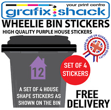 x4 WHEELIE BIN NUMBERS CUSTOM PURPLE HOUSE SHAPE STICKERS WITH YOUR NUMBERS