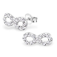 925 Sterling Silver Clear Crystal Infinity Stud Earrings Forever Love Valentines