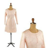 Vintage 60s Pale Pink Floral Stain Brocade Long Sleeve Cocktail Party Dress S M