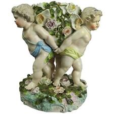 German Figural Meissen Schierholz Porcelain Compote with Cherubs and Flowers