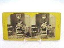 Vintage Stereoview Stereoscope Card Classical Groups The Barber Shop Barbershop