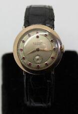 """Men's Wrist Watch 1938 W/ Ruby Face Antique 14K Gold """"Waltham Premier"""" 21 Jewel"""