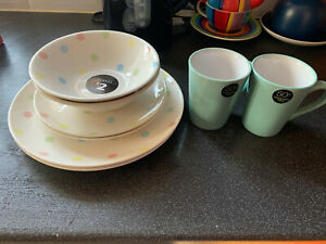 Small Dinner Set 8 Piece. Ideal for Uni NEW George/Asda