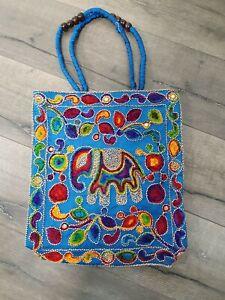 Gringo Fairtrade Blue Elephant Embroidered Shoulder Bag - Minor Fault